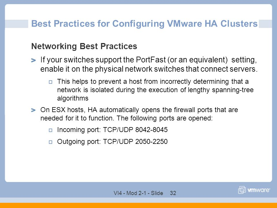 Best Practices for Configuring VMware HA Clusters