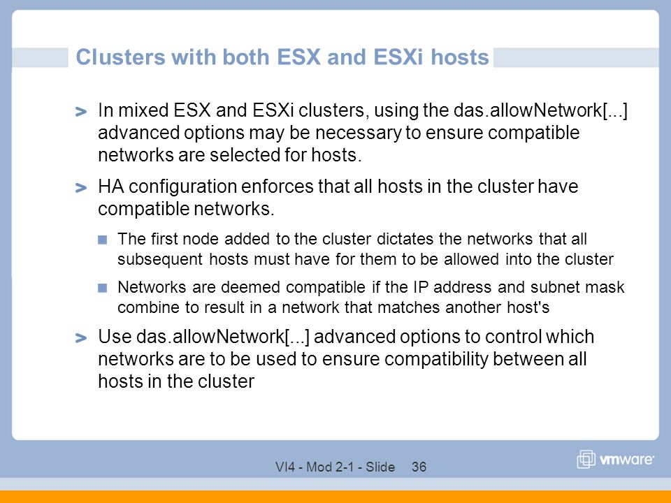 Clusters with both ESX and ESXi hosts