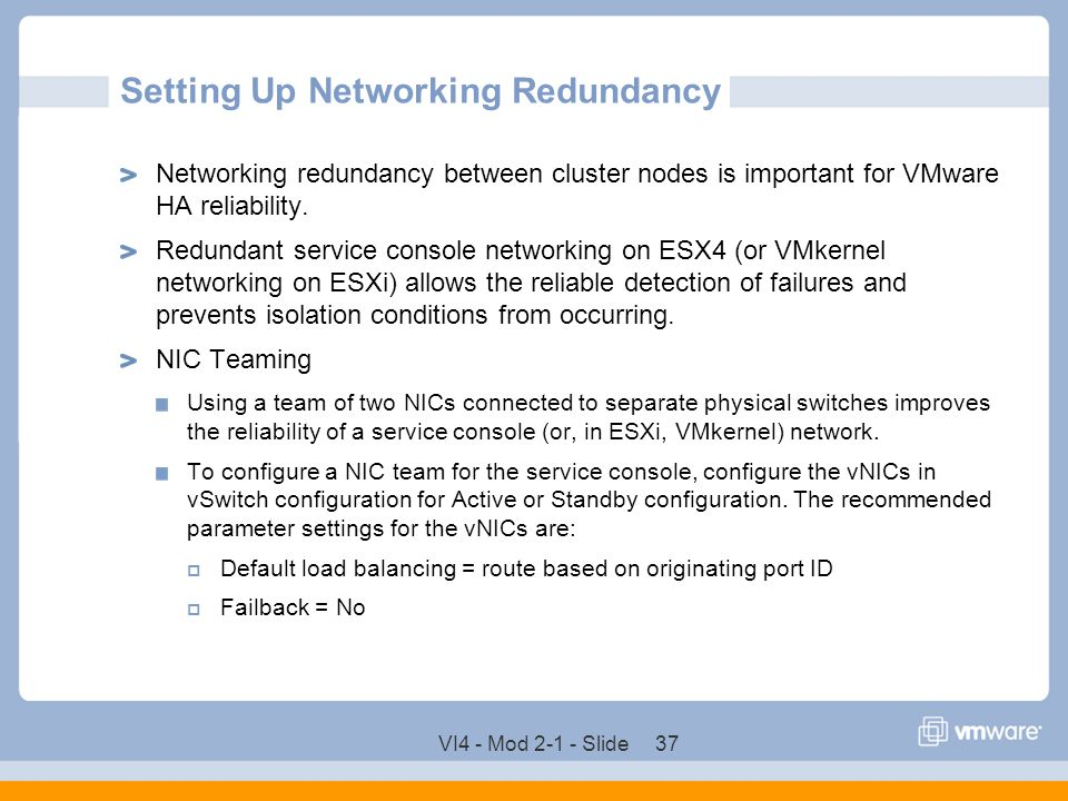 Setting Up Networking Redundancy