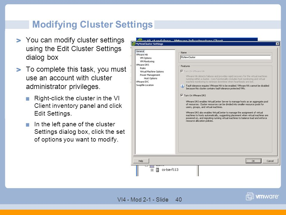 Modifying Cluster Settings