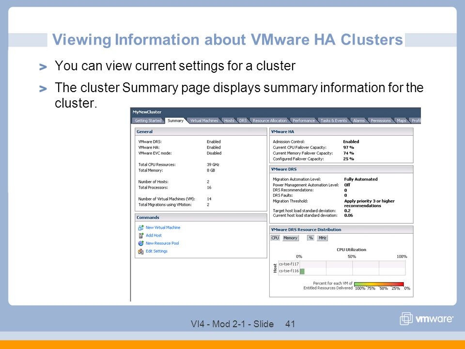Viewing Information about VMware HA Clusters