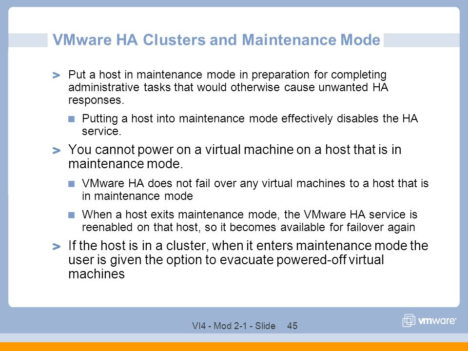 VMware HA Clusters and Maintenance Mode