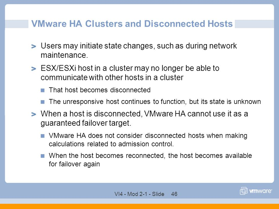 VMware HA Clusters and Disconnected Hosts