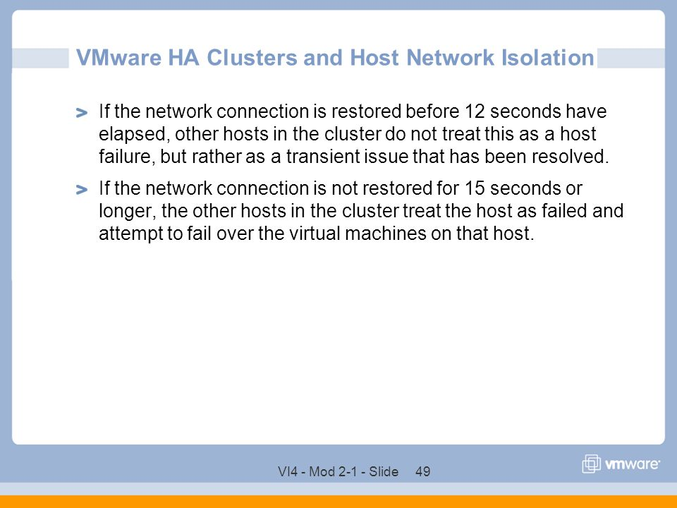VMware HA Clusters and Host Network Isolation