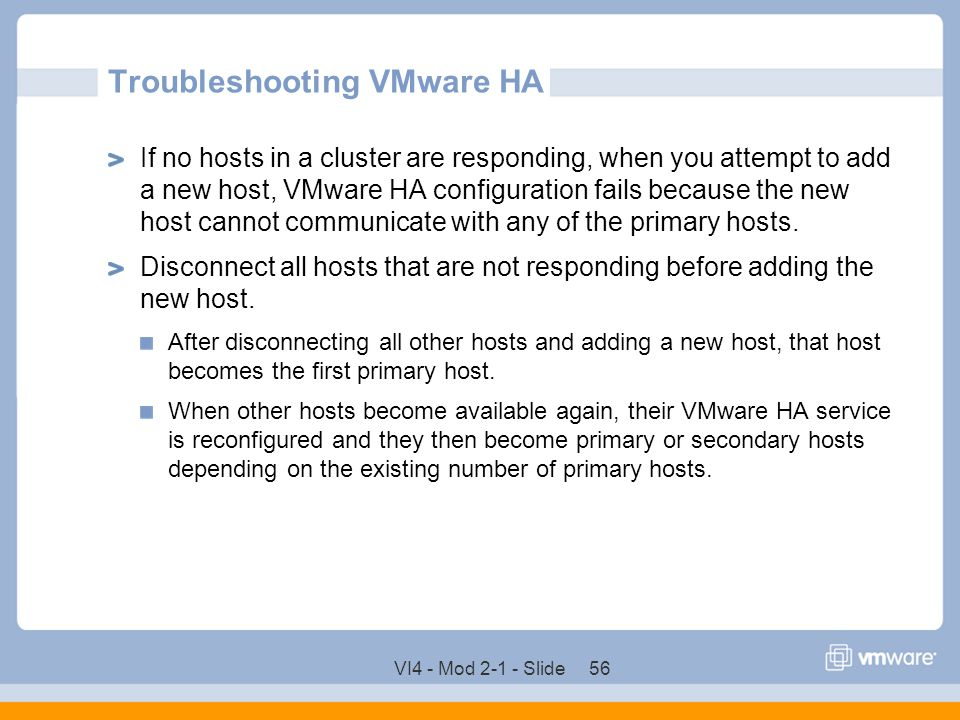 Troubleshooting VMware HA