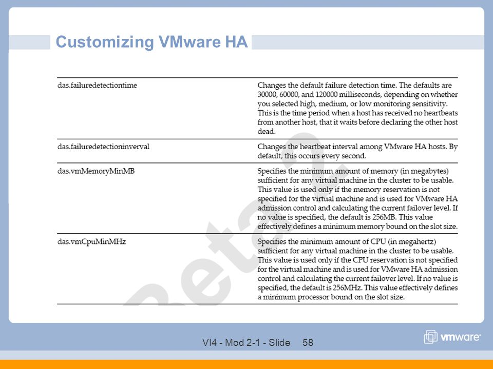 Customizing VMware HA VI4 - Mod 2-1 - Slide