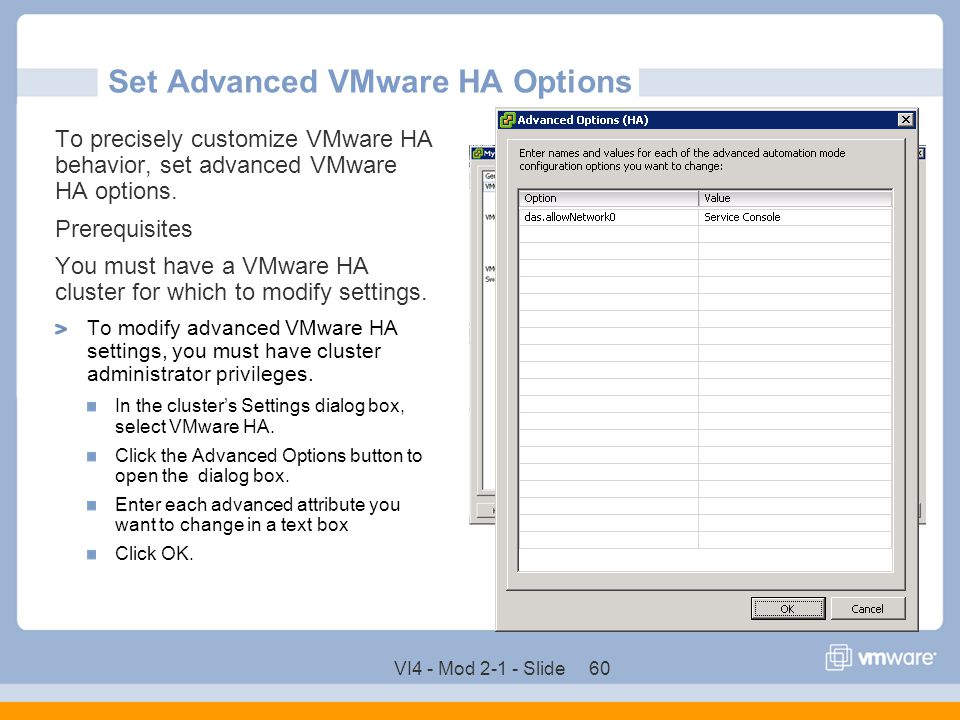 Set Advanced VMware HA Options