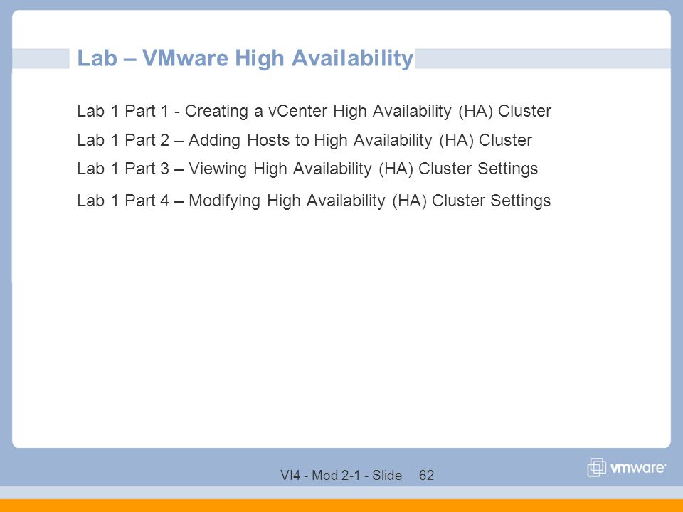 Lab – VMware High Availability