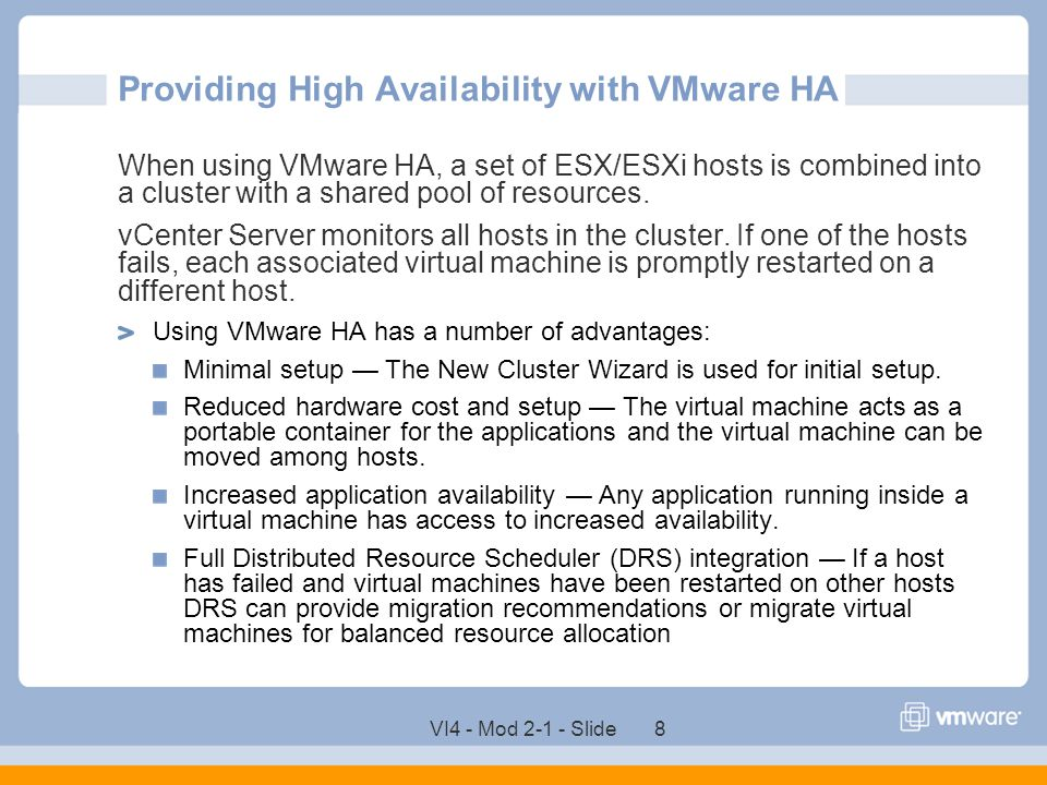 Providing High Availability with VMware HA