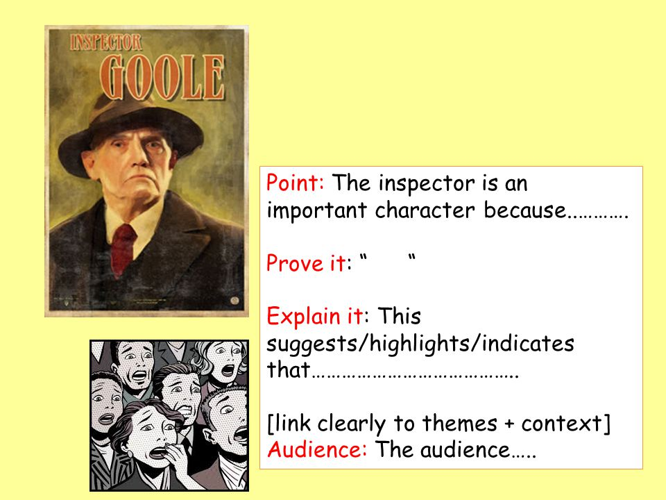 Point: The inspector is an important character because..……….