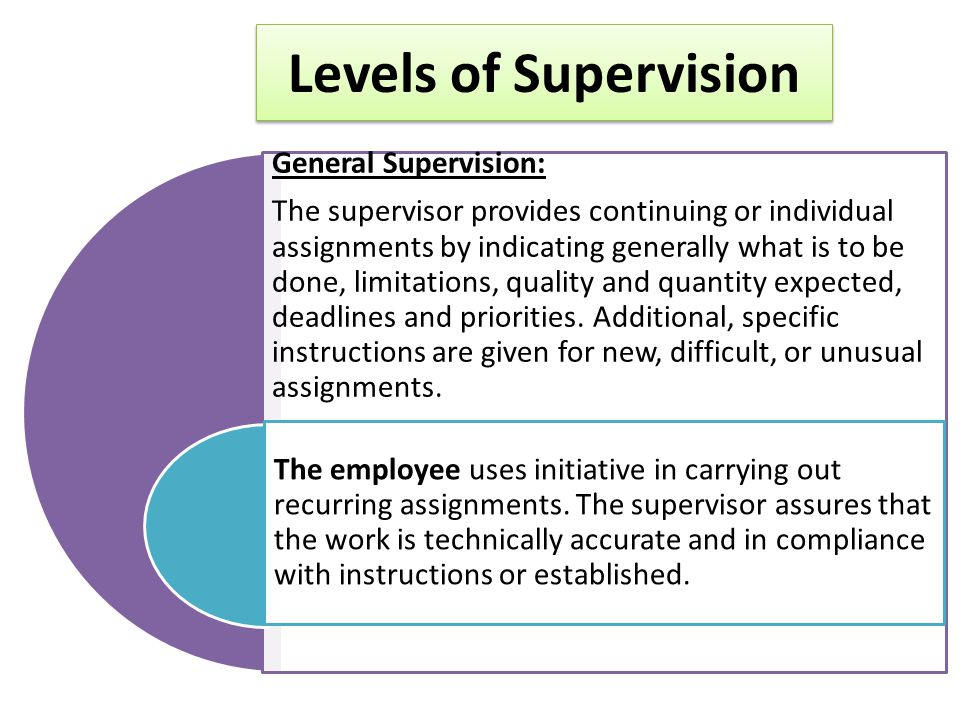 Levels of Supervision General Supervision: