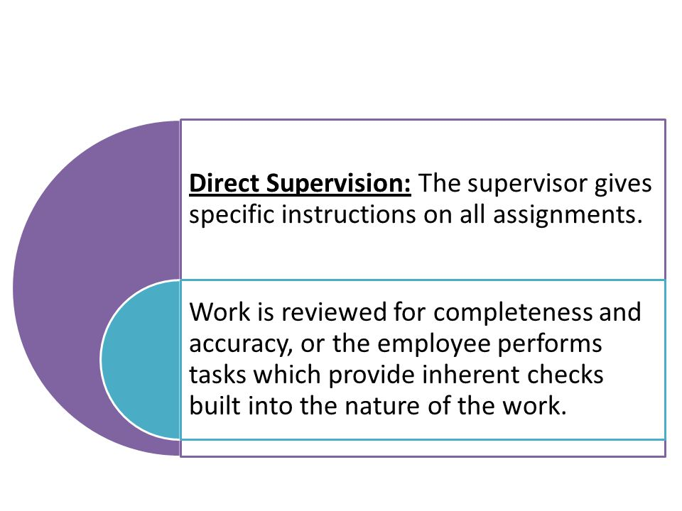 Direct Supervision: The supervisor gives specific instructions on all assignments.