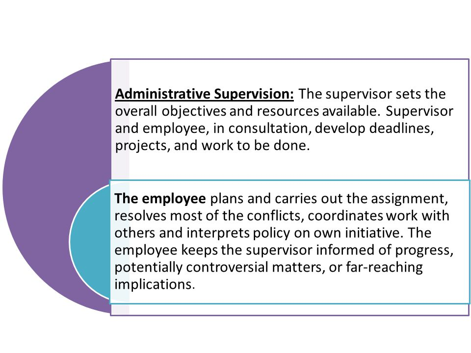 Administrative Supervision: The supervisor sets the overall objectives and resources available. Supervisor and employee, in consultation, develop deadlines, projects, and work to be done.