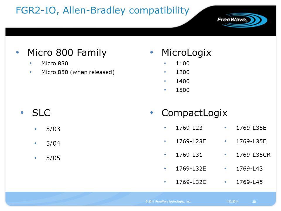 FGR2-IO, Allen-Bradley compatibility