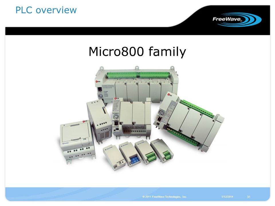 Micro800 family PLC overview 31 © 2011 FreeWave Technologies, Inc.