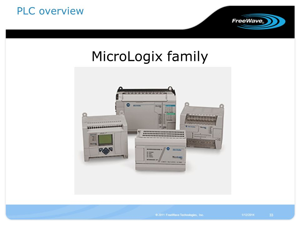 MicroLogix family PLC overview 33 © 2011 FreeWave Technologies, Inc.