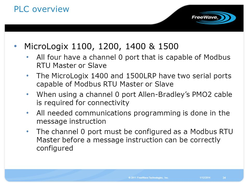 PLC overview MicroLogix 1100, 1200, 1400 & 1500