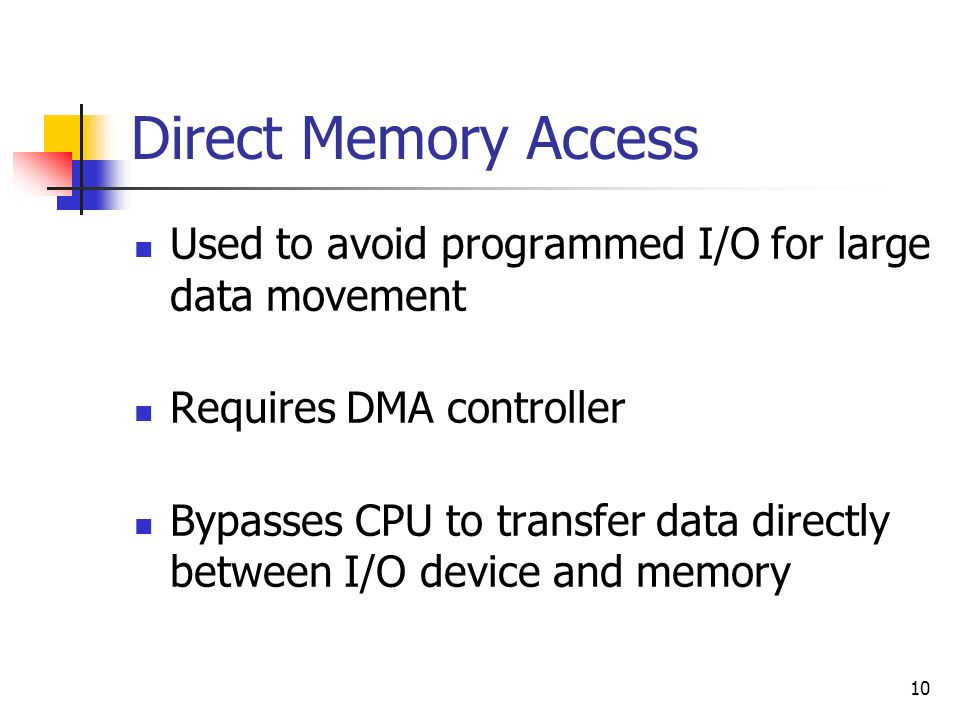 Direct Memory Access Used to avoid programmed I/O for large data movement. Requires DMA controller.