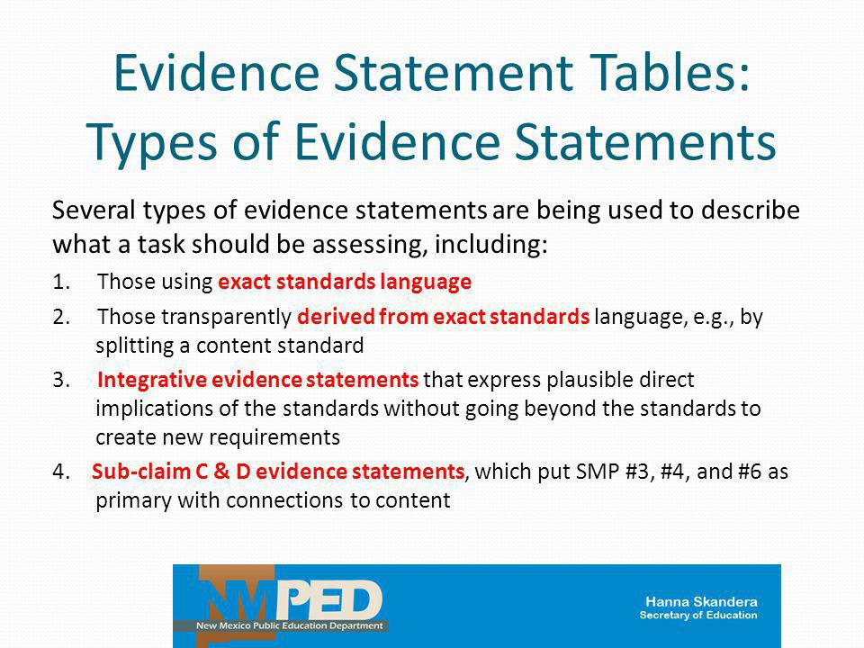 Evidence Statement Tables: Types of Evidence Statements