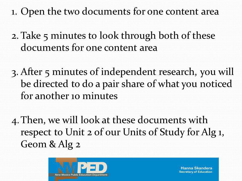 Open the two documents for one content area