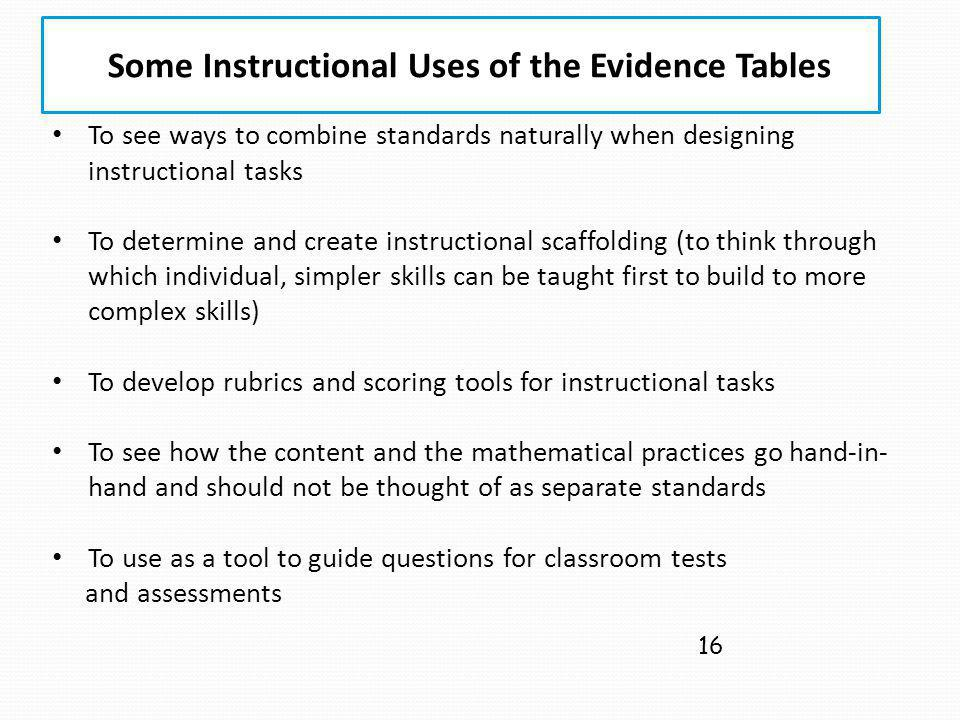 Some Instructional Uses of the Evidence Tables