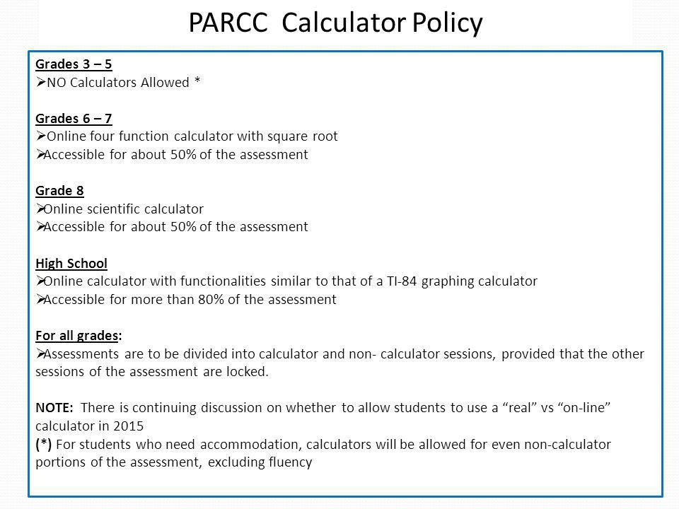 PARCC Calculator Policy