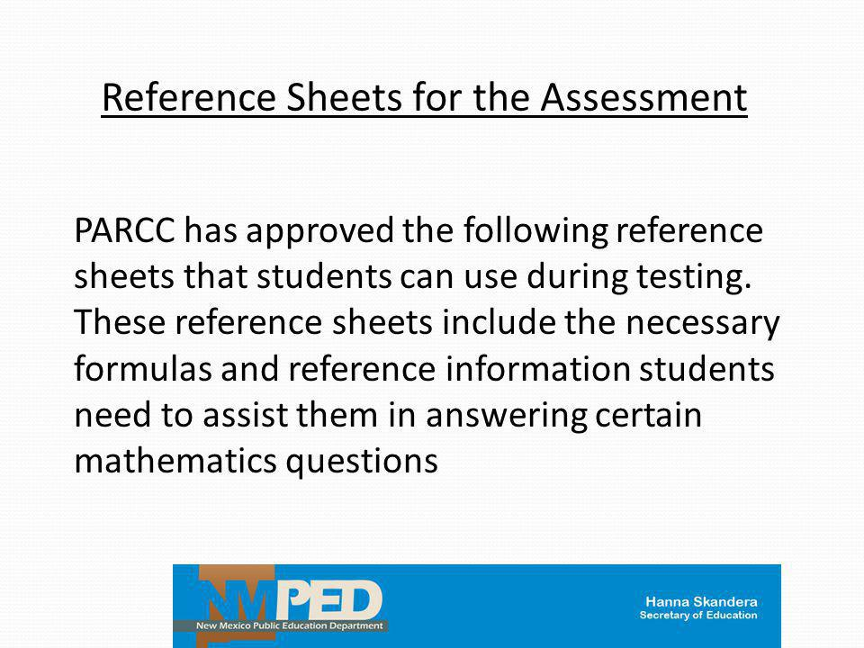 Reference Sheets for the Assessment