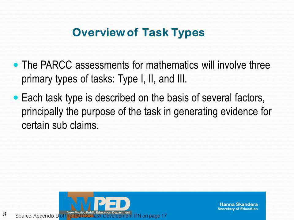Overview of Task Types The PARCC assessments for mathematics will involve three primary types of tasks: Type I, II, and III.