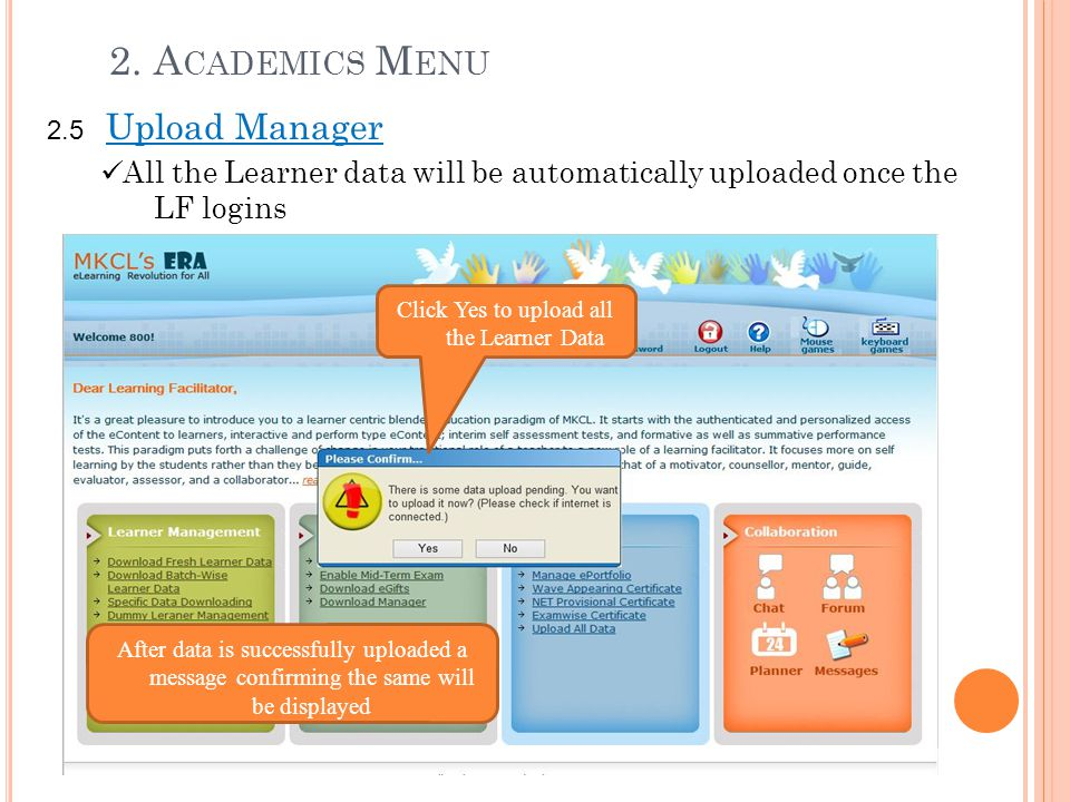 Click Yes to upload all the Learner Data