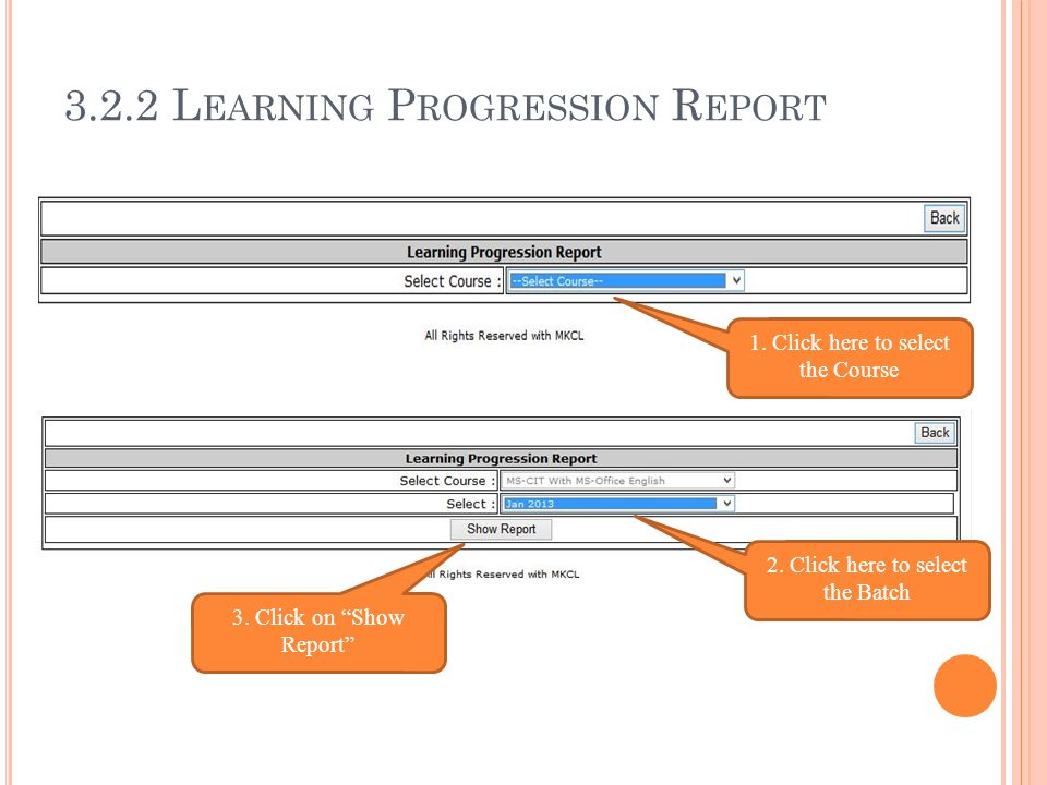 3.2.2 Learning Progression Report