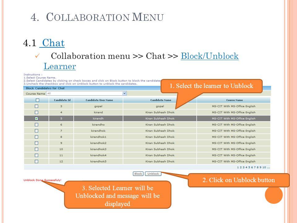 4. Collaboration Menu 4.1 Chat