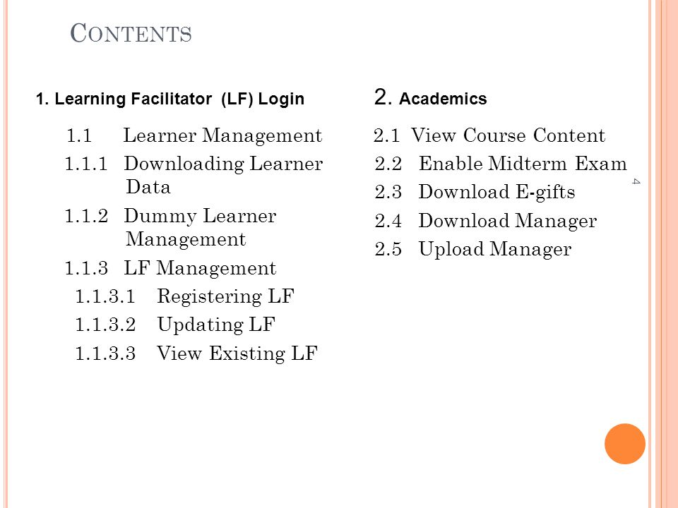 Contents 2. Academics. 1. Learning Facilitator (LF) Login. 1.1 Learner Management. 1.1.1 Downloading Learner Data.
