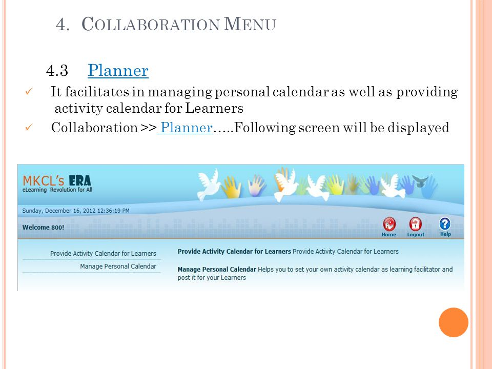4. Collaboration Menu 4.3 Planner