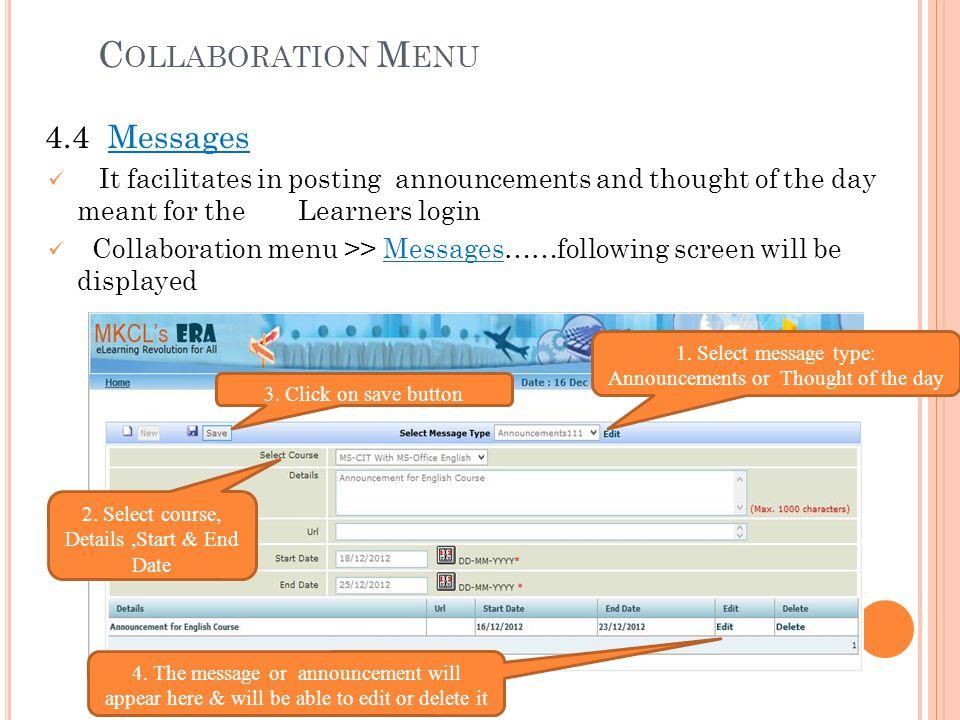 Collaboration Menu 4.4 Messages