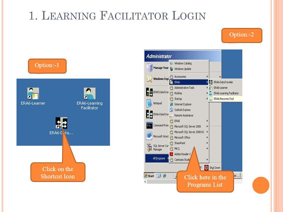 1. Learning Facilitator Login