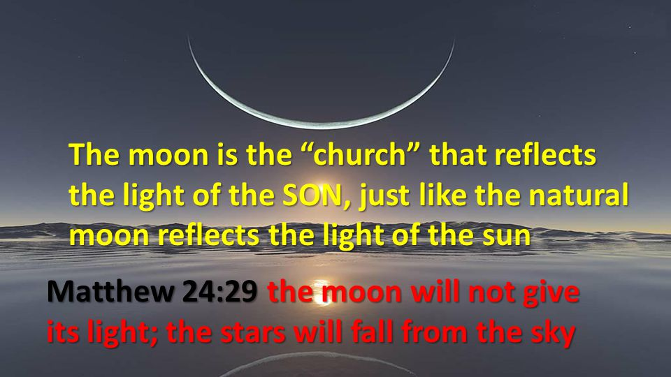 The moon is the church that reflects the light of the SON, just like the natural moon reflects the light of the sun