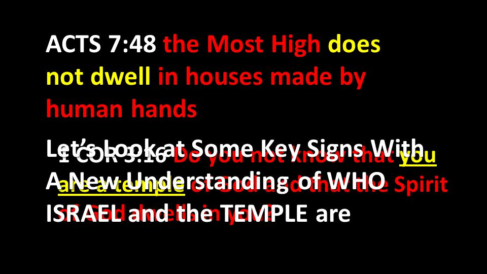 ACTS 7:48 the Most High does not dwell in houses made by human hands