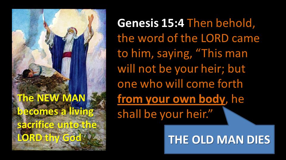 Genesis 15:4 Then behold, the word of the LORD came to him, saying, This man will not be your heir; but one who will come forth from your own body, he shall be your heir.