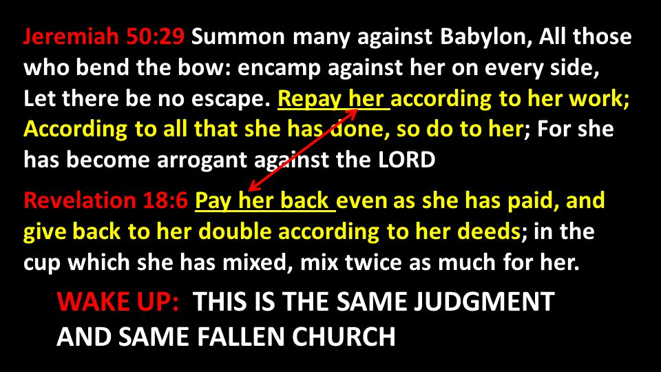 WAKE UP: THIS IS THE SAME JUDGMENT AND SAME FALLEN CHURCH