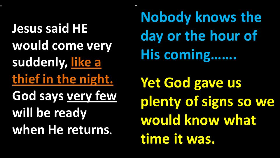 Nobody knows the day or the hour of His coming…….