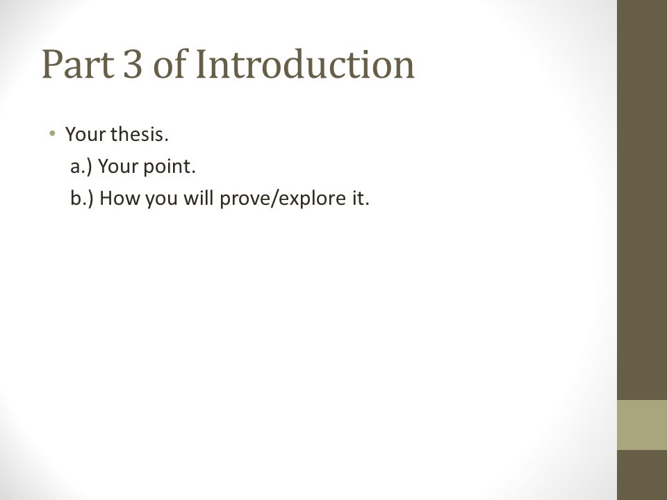 Part 3 of Introduction Your thesis. a.) Your point.