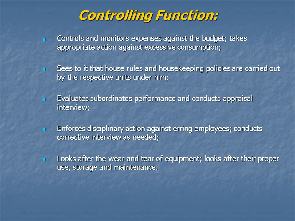 Controlling Function: