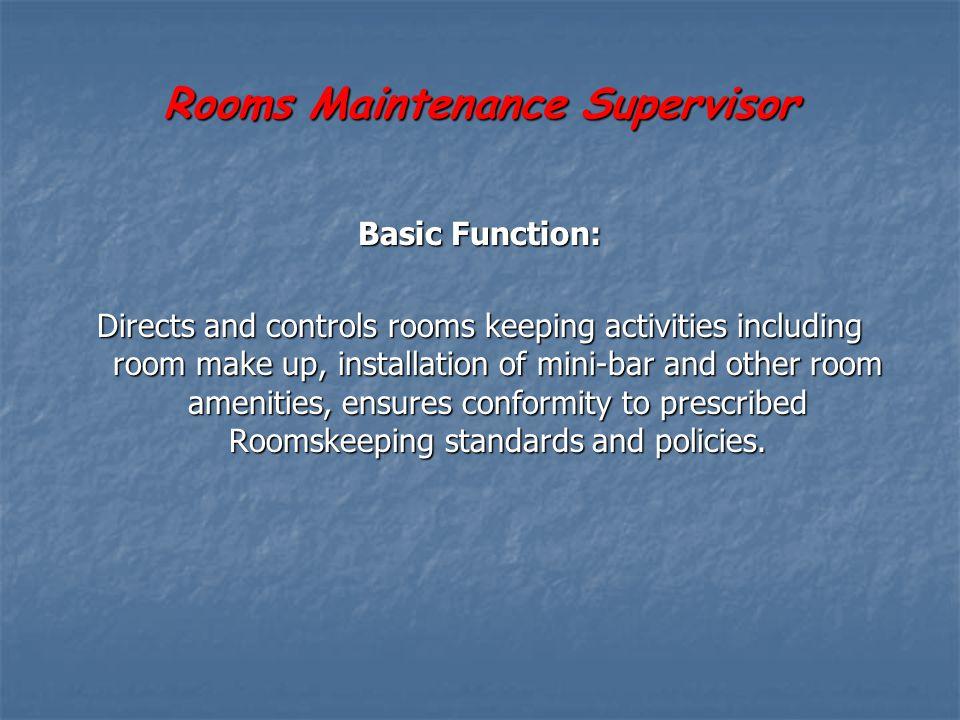 Rooms Maintenance Supervisor
