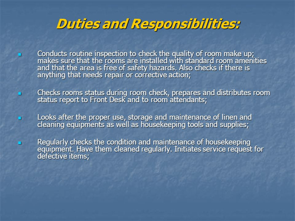 13 duties and responsibilities - Housekeeping Responsibilities