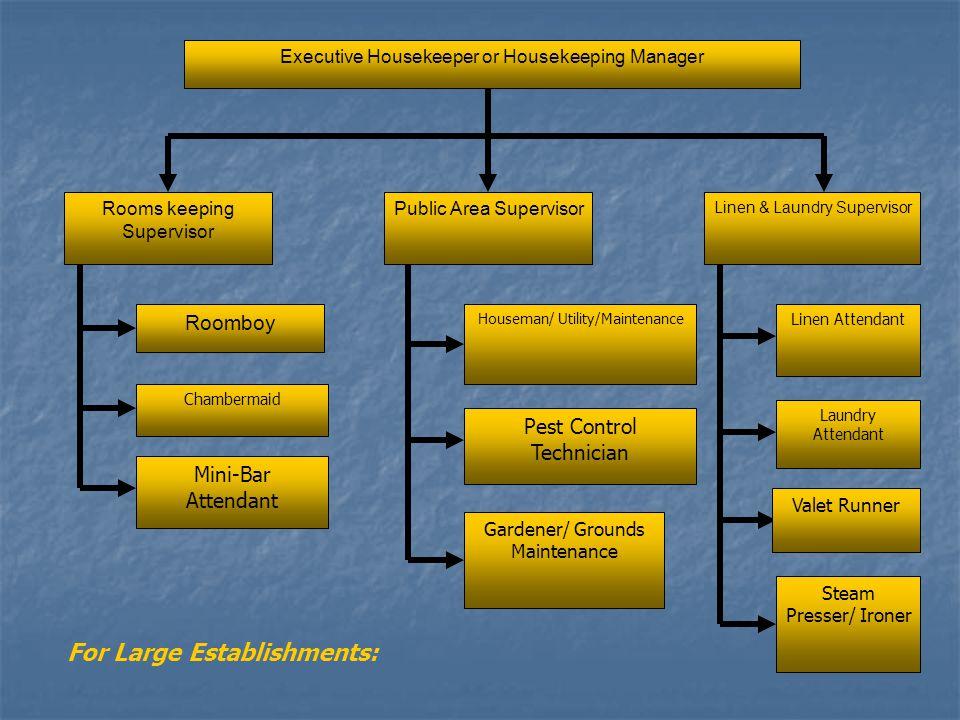Housekeeping organizational chart ppt video online download housekeeping organizational chart 2 for large establishments altavistaventures Images