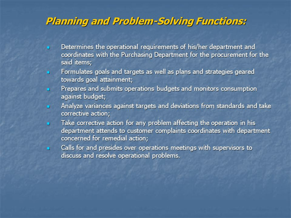 Planning and Problem-Solving Functions: