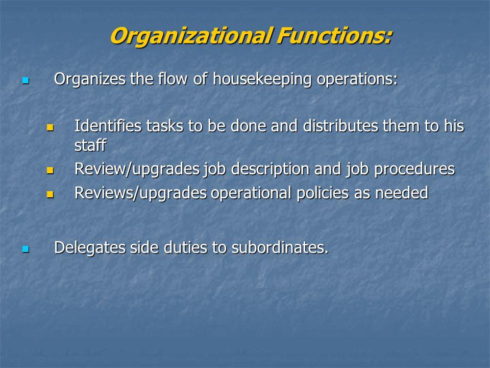 Organizational Functions: