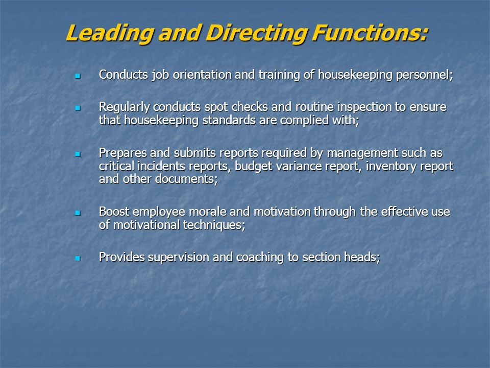 Leading and Directing Functions: