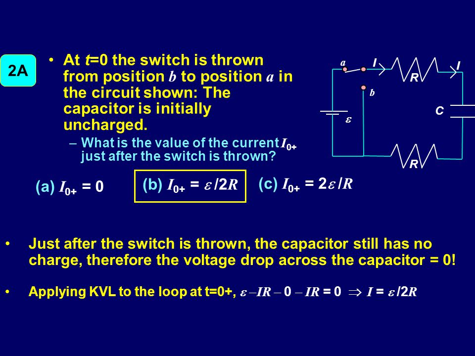 At t=0 the switch is thrown from position b to position a in the circuit shown: The capacitor is initially uncharged.