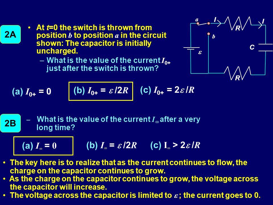 2A (a) I0+ = 0 (b) I0+ = e /2R (c) I0+ = 2e /R (a) I¥ = 0
